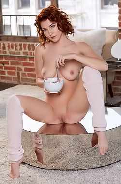 Skye Blue in sexy dancer who decides to eat lunch naked