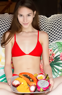 Leona Mia Nude With Colorful Tropical Fruits