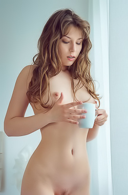 Satin Stone - Cutie plays with pussy and drinks morning coffee
