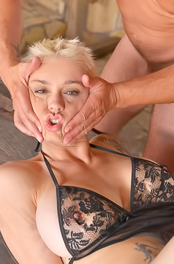 Blonde Mila Milan comes into the barn for a fuck