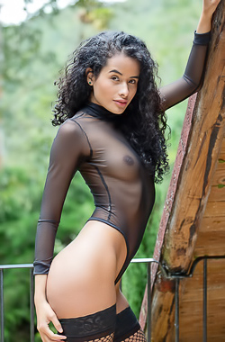 Fishnet Stockings On Sexy Curly Mia Nix